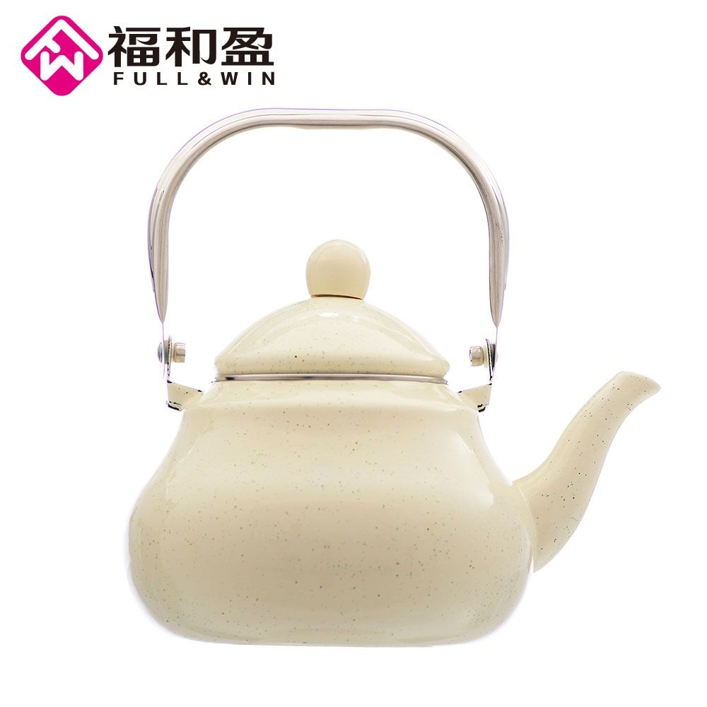 2.5L Ivory tint Enamel Pot Traditional Steel Handle Pear shaped pot Thickened Water Kettle Electromagnetic Furnace Gas Pot