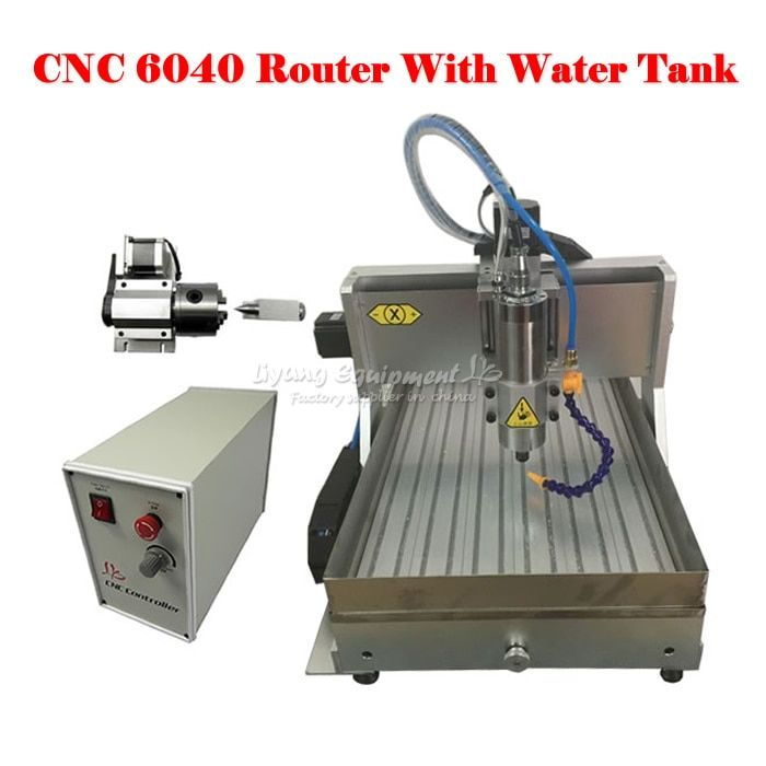 BIG working size CNC router 6040 Z-VFD 2.2KW USB 4axis cnc milling machine with water tank for wood metal