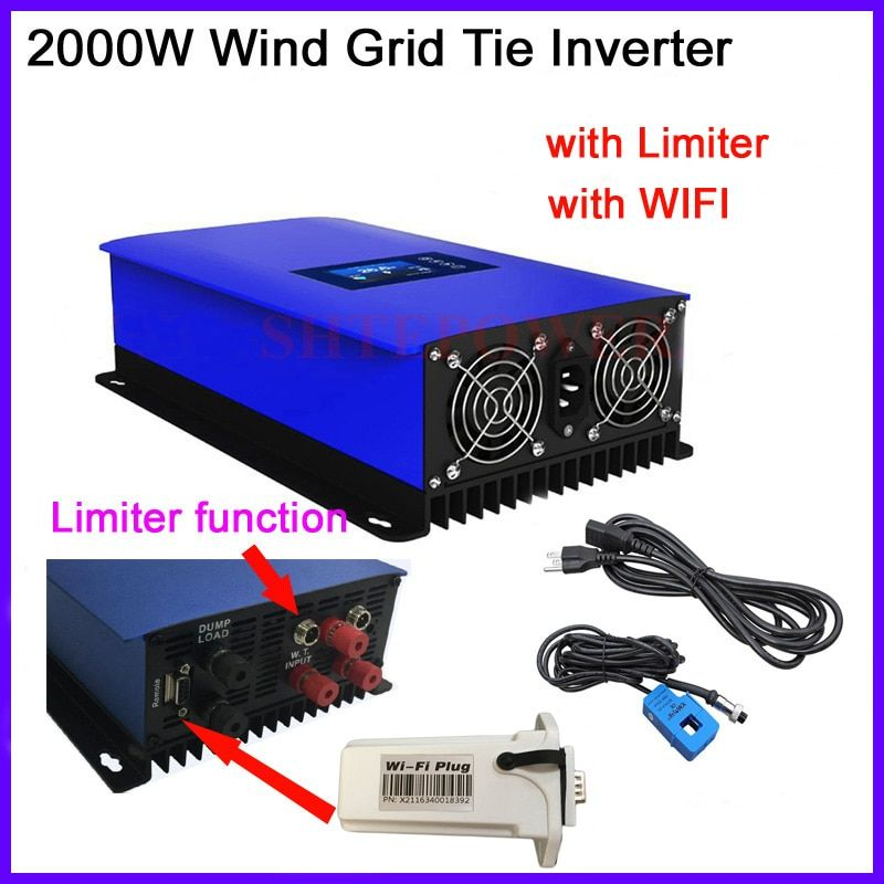 2000w 2KW Wind Power Second Generation Grid Tie Inverter 2000G2-WAL-LCD With inter Limiter and Dump Load Controller/resistor