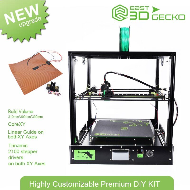 Core XY East 3D Gecko Structure DIY Kit with heat bed large print size with clone Titan extruder 3D Printer