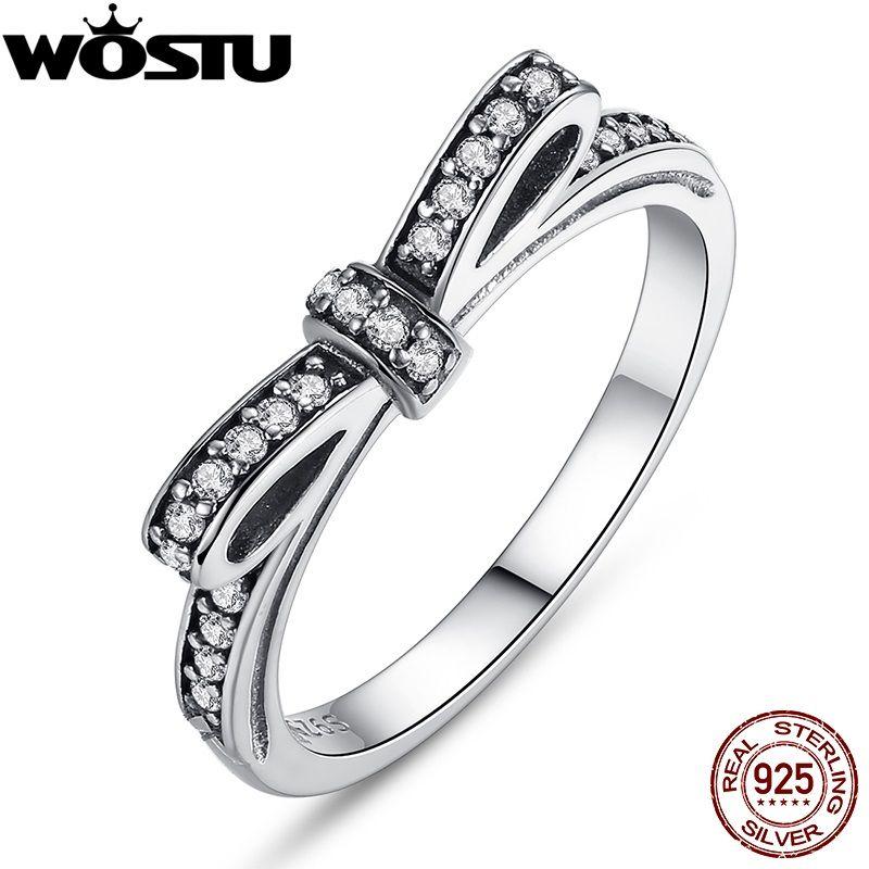 De noël Authentique 100% 925 Sterling Silver Bow Noeud Anneau De Mariage Avec Cristal Compatible Avec Original Bijoux XCH7104