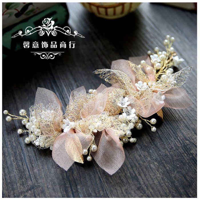 Coréen soie fil fleur mariée coiffure beauté mariée mariage cheveux accessoires rose cheveux ornement