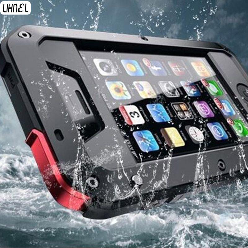 LIHNEL pour 5C 5S 1:1 Doom armure Étanche Antichoc En Aluminium Gorilla Métal Impact Case pour iPhone5 5C 5S 4S 6 6 S Plus 7 Plus