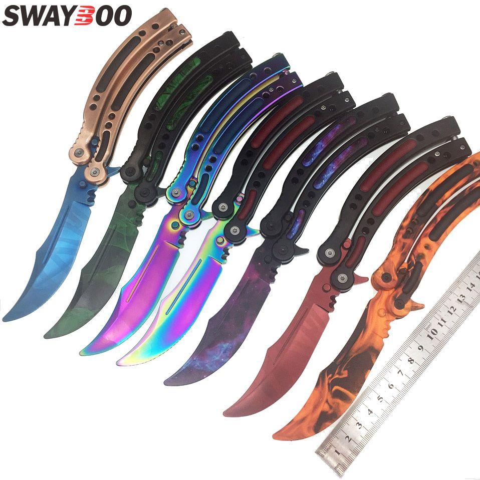 Swayboo CS GO Karambit couteau pliant papillon fondu papillon coloré dans le couteau doppler entraînement sans bord outil de pratique hurlement