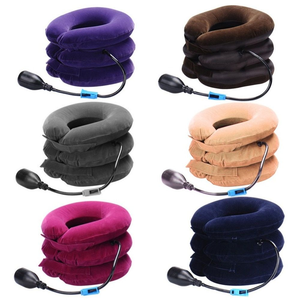 Three Layers Cervical Neck Traction Apparatus Inflatable Velvet Neck Guard Portable Adjustable Neck Brace Support Health Care