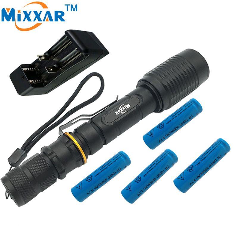 ZK40 5000LM V5 CREE XM-L T6 5-Modes LED Flashlight LED Adjustable Flashlight Torch Light Suitable Two 5000mAh Batteries Lamps