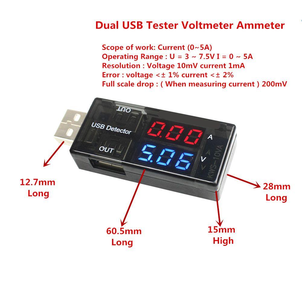 Zweireihig Zeigt USB Strom Spannung Tester USB Spannung Amperemeter USB Detector Dual USB Strom Spannung Ladegerät