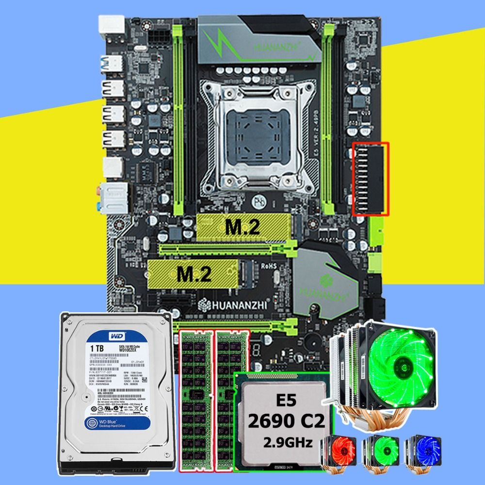 Marke HUANANZHI X79 Pro motherboard mit dual M.2 slot CPU Xeon E5 2690 2,9 GHz 6 rohre kühler RAM 16G (2*8G) RECC 1 TB SATA3.0 HDD