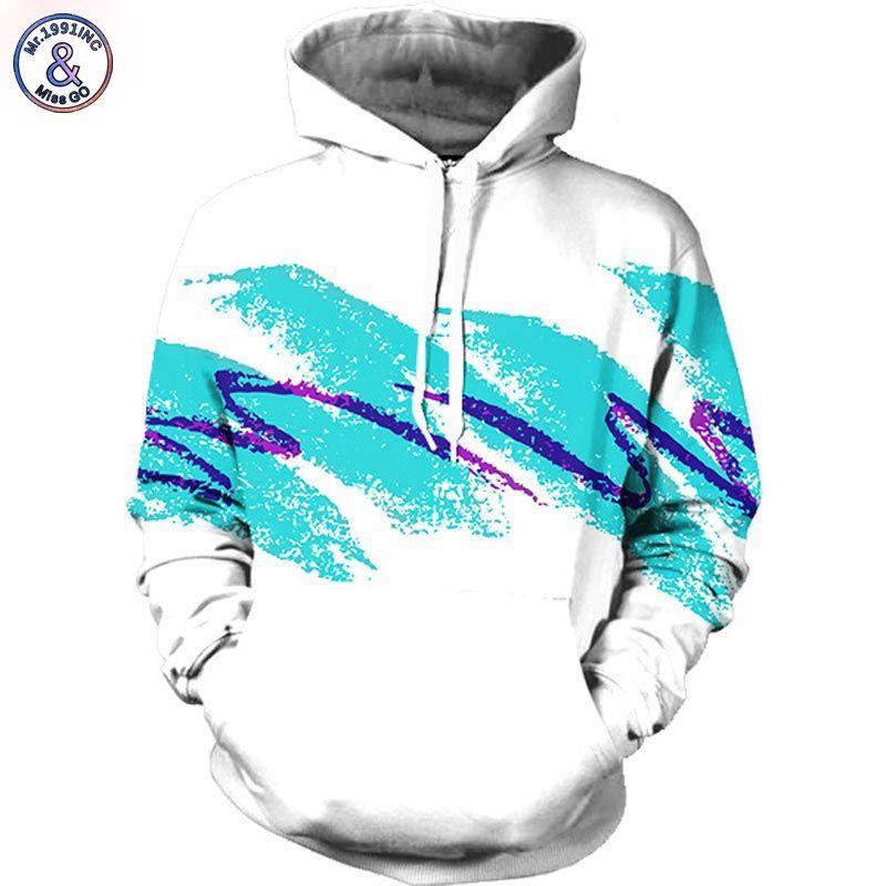 Mr.1991INC Watercolor digital printing Men/women Hoodies Print <font><b>Waves</b></font> 3d Hooded sweatshirts Autumn Winter Fashion Hoody tops
