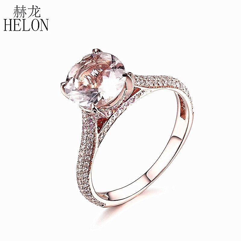 HELON Solid 10K Rose Gold Flawless 8mm Round Cut 1.4ct Morganite Diamonds Gemstone Engagement Wedding Ring Pave & Prong Setting