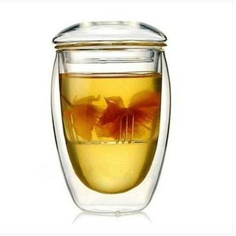 Двойная стена стеклянная чашка чая с фильтром кунг-фу воды кружки творческий посуда 350 мл
