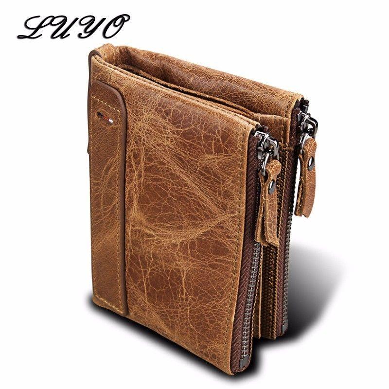 Crazy Horse Genuine Leather Men Purse Wallets Short Defence RFID Zipper Mens Male Wallet Billetera Hombre Small Portfolio Man