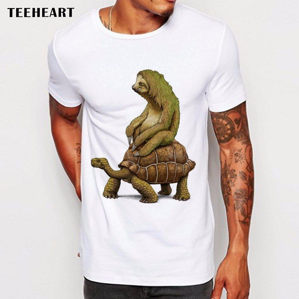 Teeheart Men T Shirts Funny speed is relative sloth on tortoise Design Short Sleeve Casual Tops Hipster T-Shirt Cool Tee La756