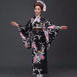 Moda nacional tendencias mujeres sexy kimono yukata con Obi vestido de noche de la novedad Cosplay japonés floral un tamaño