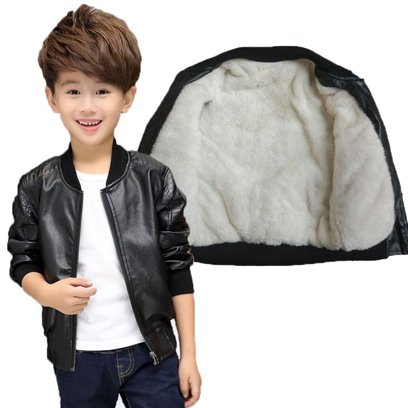 Children Boys Winter Coat New <font><b>2016</b></font> Winter Thick Velvet Kids PU Leather Jacket Fashion Solid Children's Warm Clothes Outwears