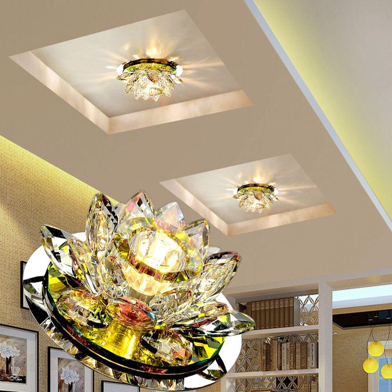 LAIMAIK plafond LED cristal Lumière 3W AC90-260V cristal LED moderne Lampe Lumière D'allée Lampe Hall Éclairage Citrouille Lotus Lumières