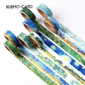 1 pcs Washi Bandes DIY Van Gogh Peinture papier Masking tape ruban Décoratif Rubans Adhésifs Scrapbooking Autocollants Taille 15mm * 7 m