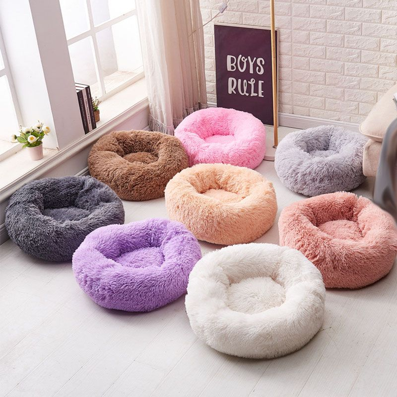 Lit de chien rond lavable lit de chat pour animaux de compagnie chien respirant chaise longue canapé pour petits chiens moyens Super doux tampons en peluche produits pour chien