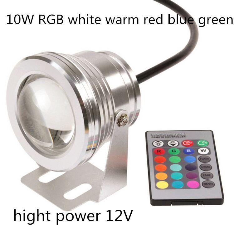 10w rgb led underwater light dc12v IP68 waterproof aquarium swimming pool spotlight stainless car lighting fish tank piscina