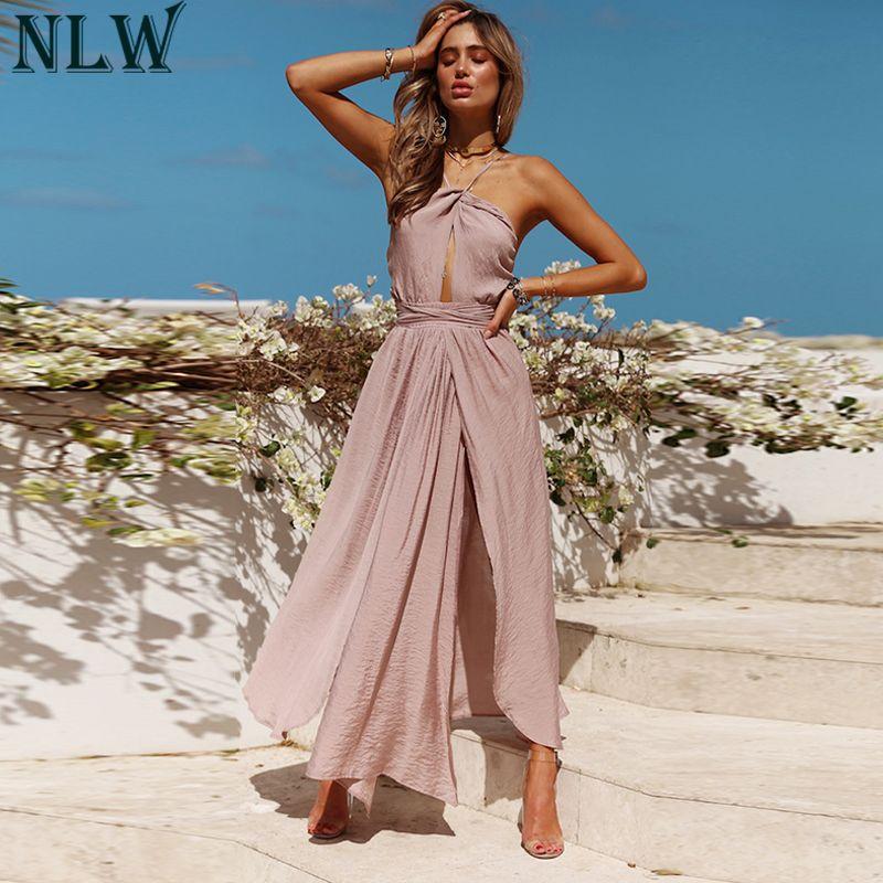 NLW Women Sexy Halter Maxi Dress 2018 Summer Backless Wrap Dress Female Solid Elegant Dresses Lady Beach Party Wedding Vestidos