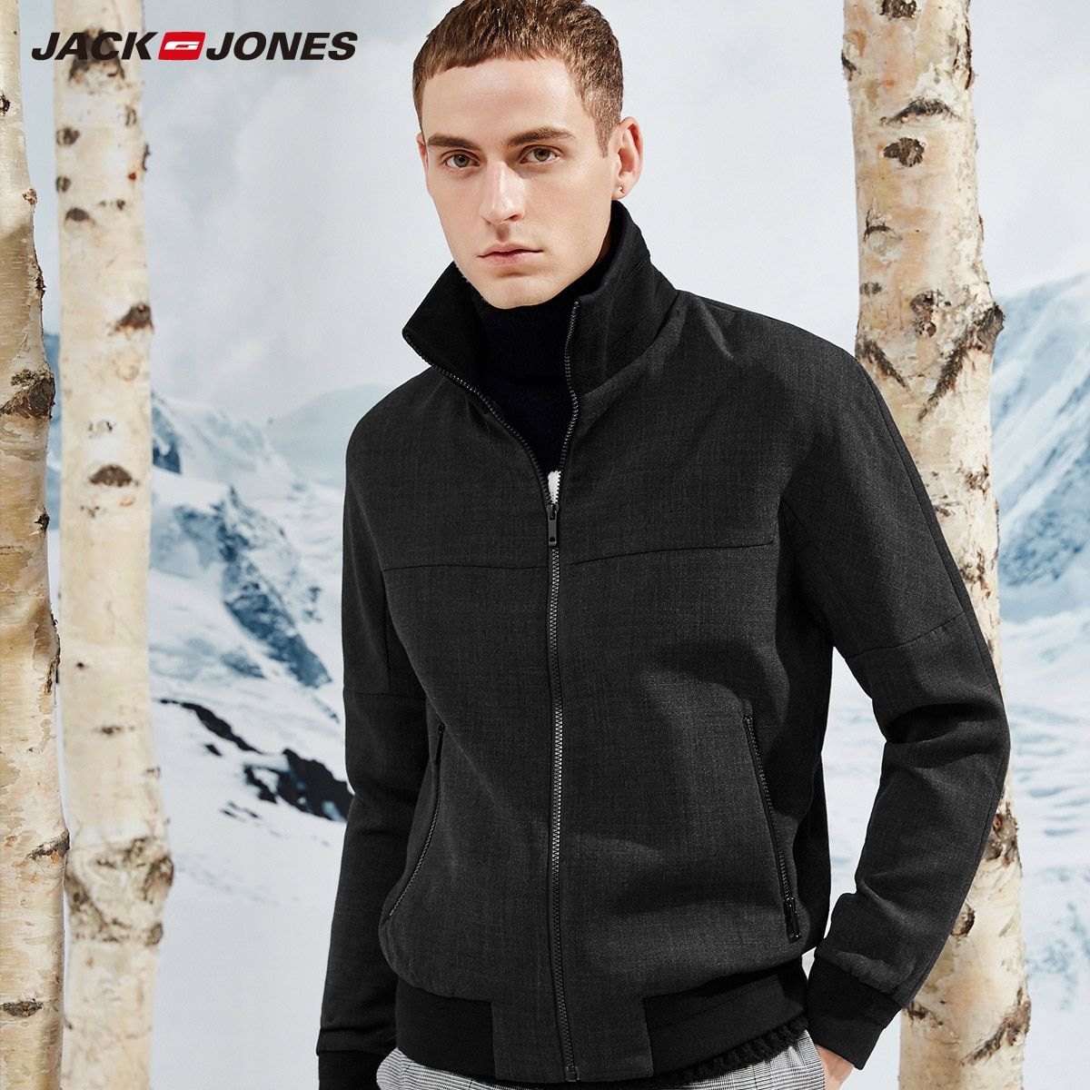 JackJones Men's Wool contained jacket Slim Shirt Casual gothic Black Goth Men Long Sleeve Jacket Menswear E|217321557