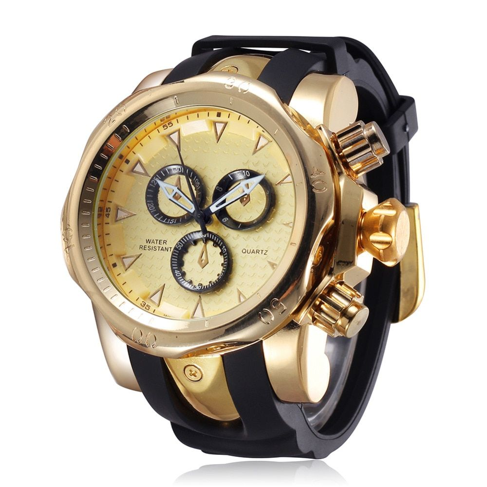 Famous Brand Big <font><b>Dial</b></font> Watch for Men Quartz Big Face Watches Rubber Band 52MM Rose Gold Men's Wristwatch Luxury Mens Relojios New