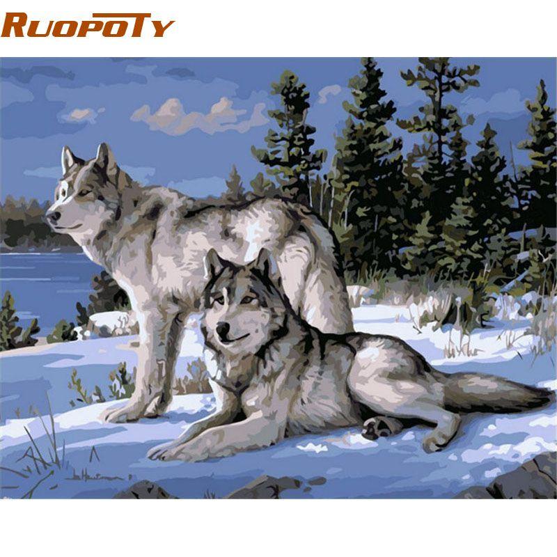 Cadre RUOPOTY animaux loup peinture à la main par numéros Art mural moderne peint à la main peinture à l'huile sur toile pour décor de chambre œuvre