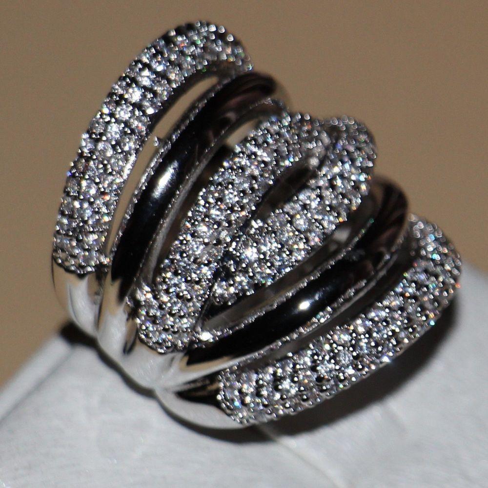 Vintage Größe 5-11 modeschmuck 14kt weißes gold füllte CZ Simulierte steine Frauen Hochzeit Engagement Band Ring mit box geschenk