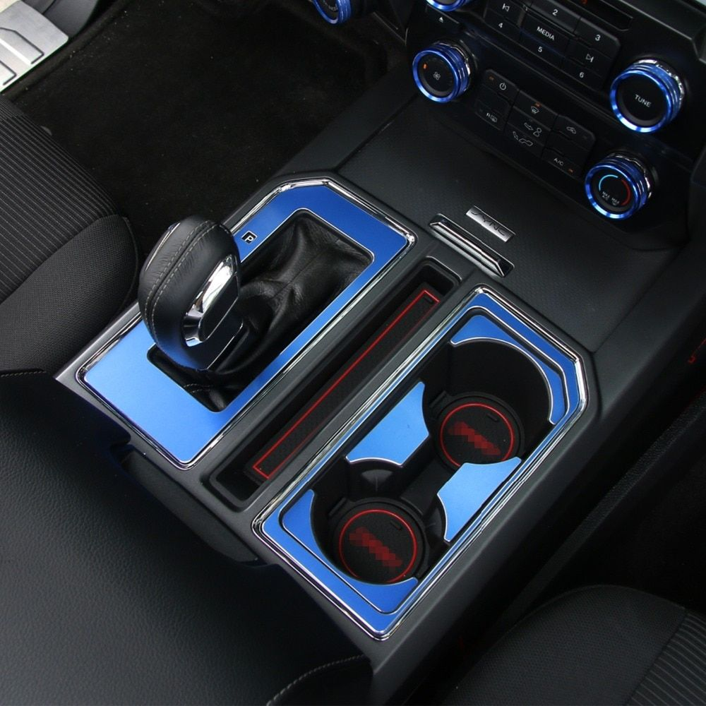 HANGUP Aluminum Alloy Gear Shift Panel Cup Mat Holder Decoration Trim Interior Stickers For Ford F150 2015 Up Car Styling