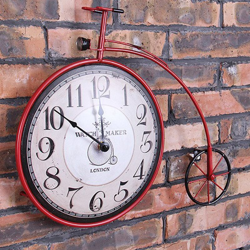Bicycle wheel wall clock industry wind restoring ancient ways is creative, wrought iron clock, metope adornment bar IRON Colock