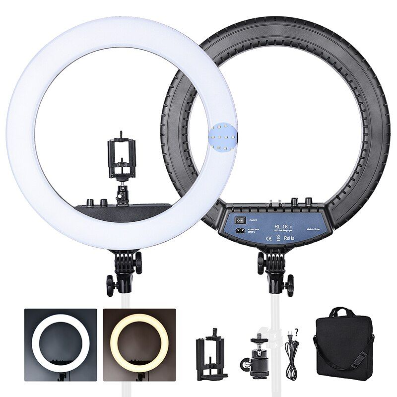 FOSOTO RL-18II Bi-color 3200-5600K Dimmable Photography light 512 Leds Makeup Ring Light Lamp For Camera Photo Studio Phone