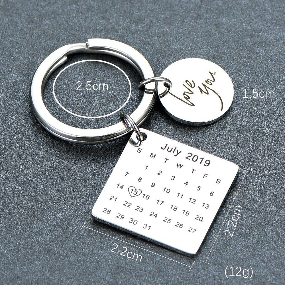 Porte-clés en acier inoxydable personnalisé calendrier porte-clés sculpté à la main calendrier mis en évidence avec coeur Date porte-clés privé personnalisé