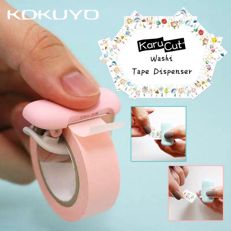 1PCS Cute Japanese Stationery Mini Washi Tape Dispenser Kawaii Portable Plastic Office Scotch Tape Cutter School Supplies