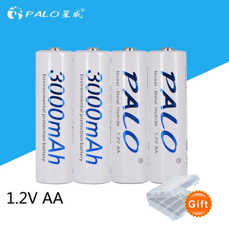 4 pièces/carte PALO AA batterie Rechargeable AA NiMH 1.2 V 3000 mAh Ni-MH 2A Batteries rechargeables de batterie pré-chargées pour appareil photo