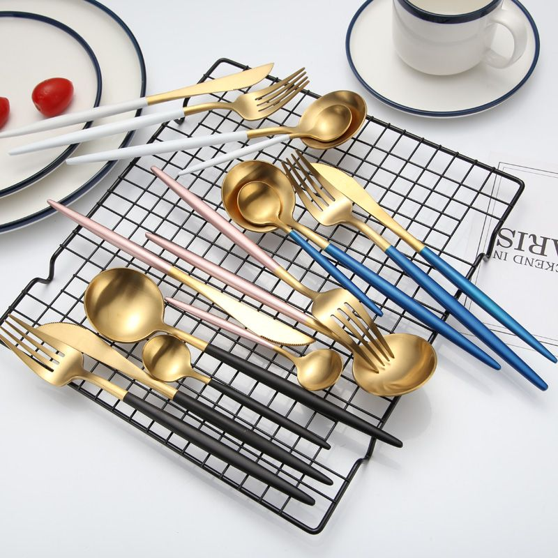 KuBac Hommi 24pcs Gold Cutlery Set Black Dinnerware Forks Knives Scoops Set 18/10 Stainless Steel Silverware Set Drop Shipping