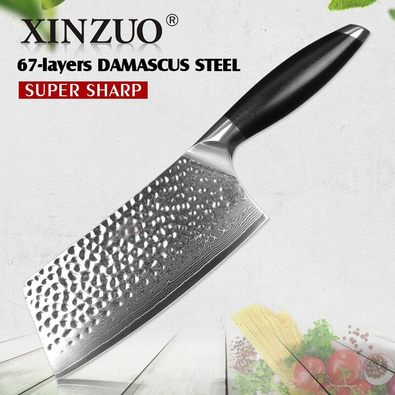 XINZUO 7'' Chinese Style Kitchen Knife Japanese vg10 Damascus Steel Stainless Steel Nakiri Knives Chef Cutter with G10 Handle