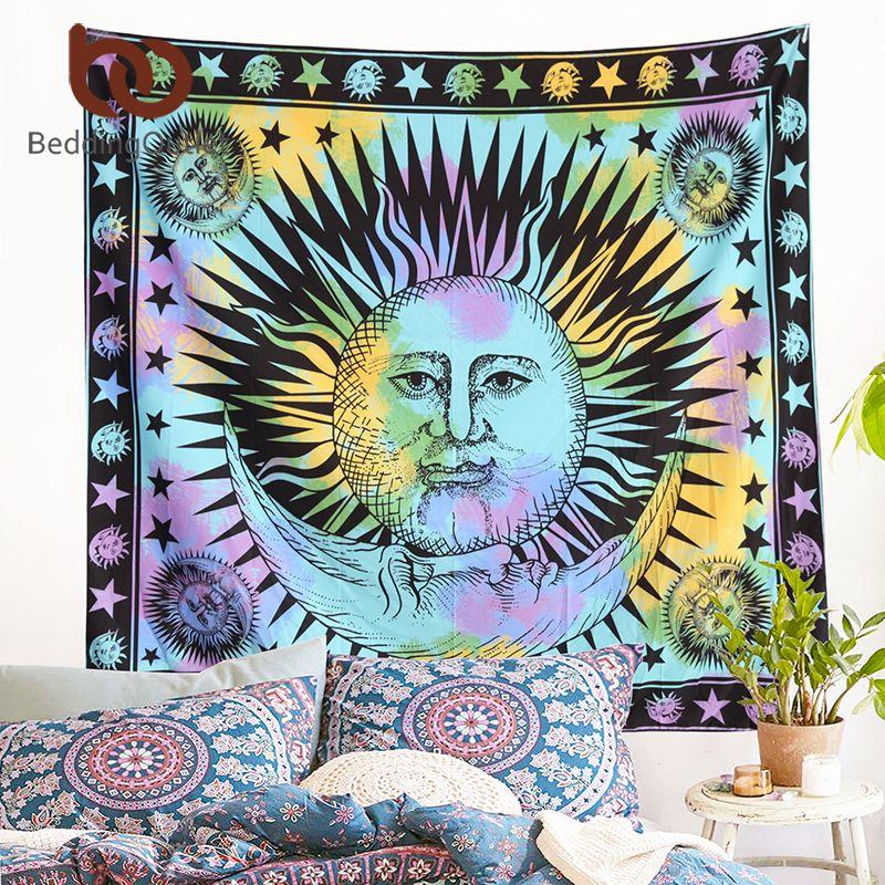 Beddingoutlet красочные Гобелены психоделический Celestial индийский Защита от солнца Гобелены стене висит Пледы богемный двери Шторы 145 см x 165 см
