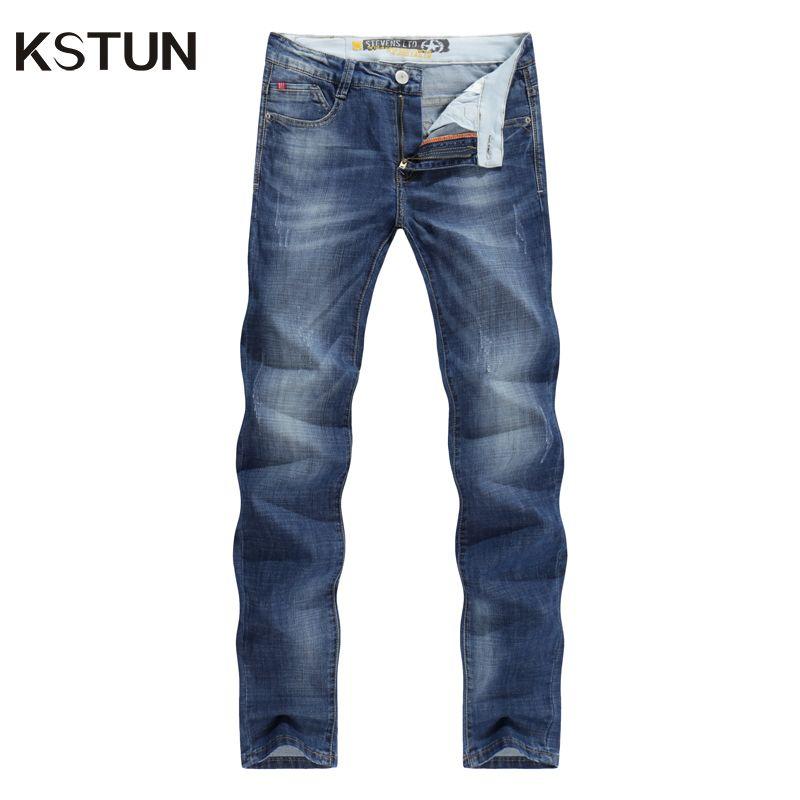 Kstun Для мужчин Джинсы для женщин Бизнес Повседневное тонкие летние прямые Slim Fit синие джинсы стрейч джинсовые штаны Мотобрюки классический ...