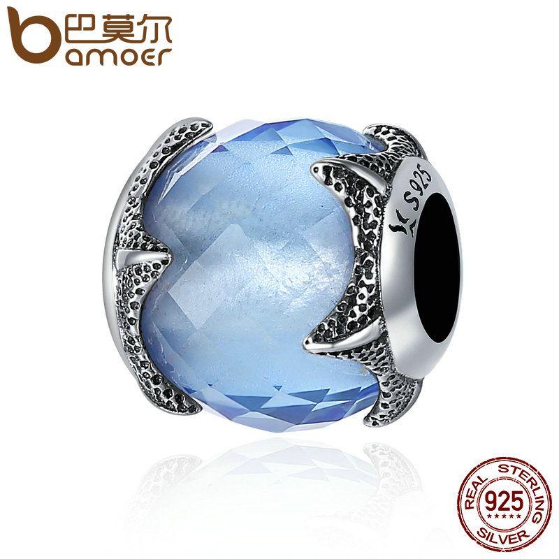 BAMOER Authentische 100% 925 Sterling Silber Seestern Licht Blau Kristall Unterwasserwelt Perlen fit Charm Armband DIY schmuck SCC368