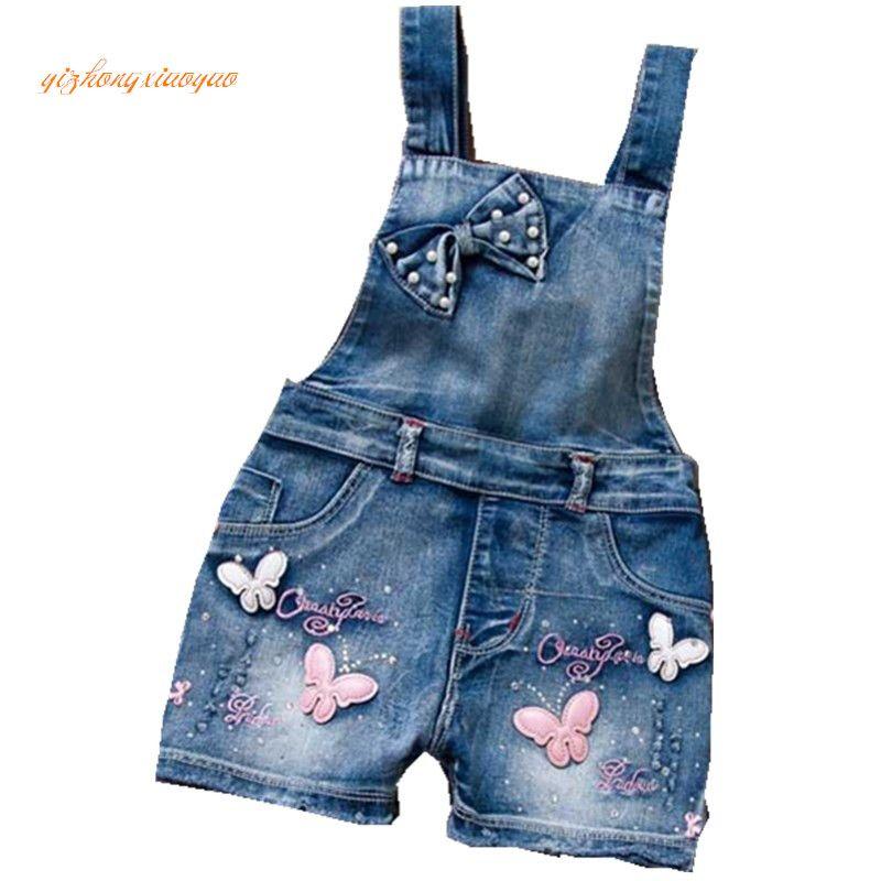 2019 printemps été US Style fille combinaison mignon doux mode lavé Jeans Denim barboteuse combinaisons sangles pantalons courts Cowboy bleu
