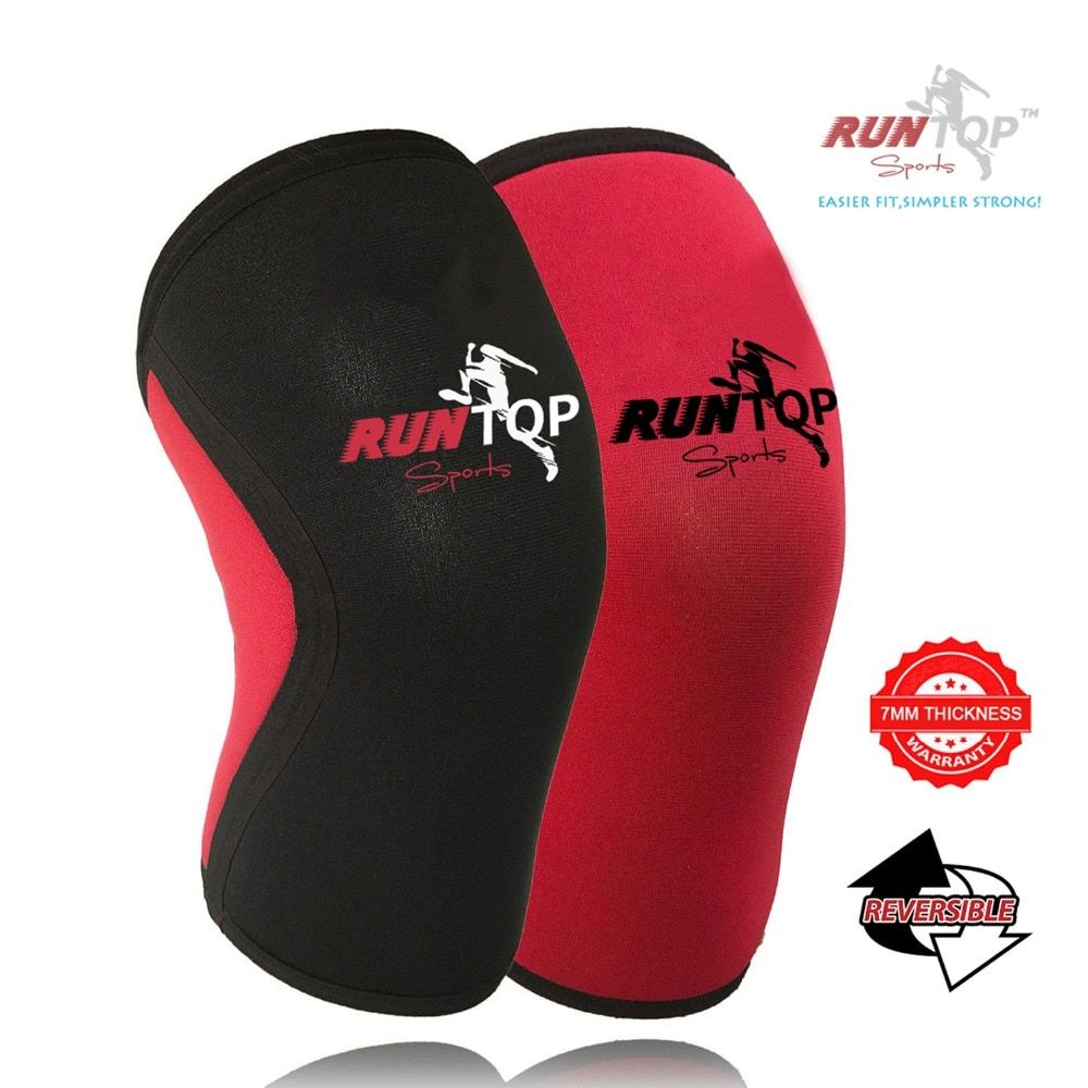 RUNTOP 7 mm Neoprene Knee Sleeves Crossfit Weight Lifting Powerlifting Fitness Running Knee Pad Brace Cap Support Compression