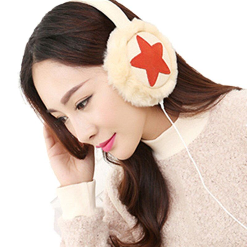 Plush Female Winter Earmuff Warm Ear Muffs Headphones Girls Star Earmuffs Music Earphones Ear Protector Fur Headphones