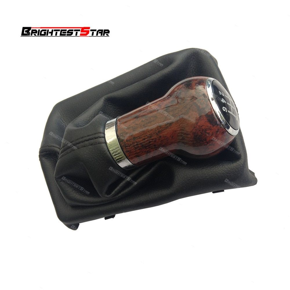 4F0863278P Black PU Leather Boot Wood 6 Speed Gear Shift Knob Gaiter MT For Audi A6 C6 S6 Allroad Quattro 2005-2011