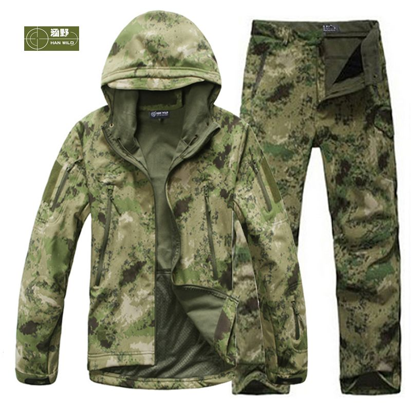 HANWILD Man Fishing Waterproof Hunting Tactical SoftShell Outdoor Jacket SharkSkin Military Camouflage Jackets Set Sport Army S6