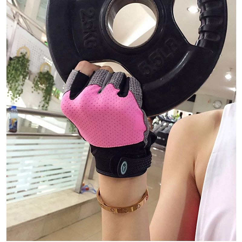 Women Men Training Sports Glove Bodybuilding Dumbbells Weight Lifting Half Finger Gloves Silicone Gel Anti-Slip Gloves for Gym
