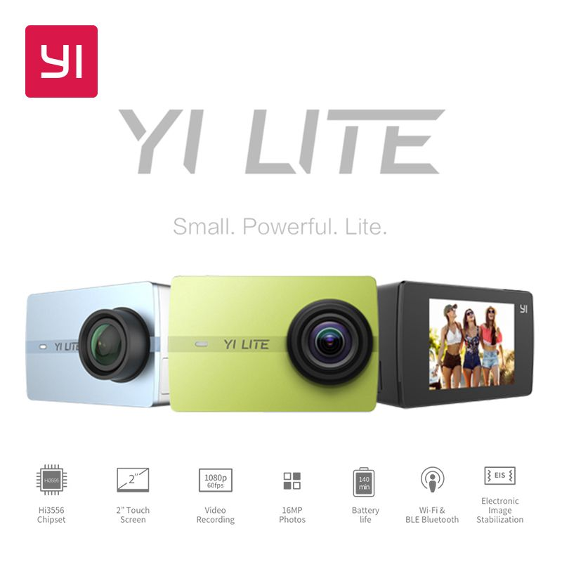 YI Lite Action Camera 16MP Real 4K Sports Camera with Built-in WIFI 2 Inch LCD Screen 150 Degree Wide Angle Lens Black
