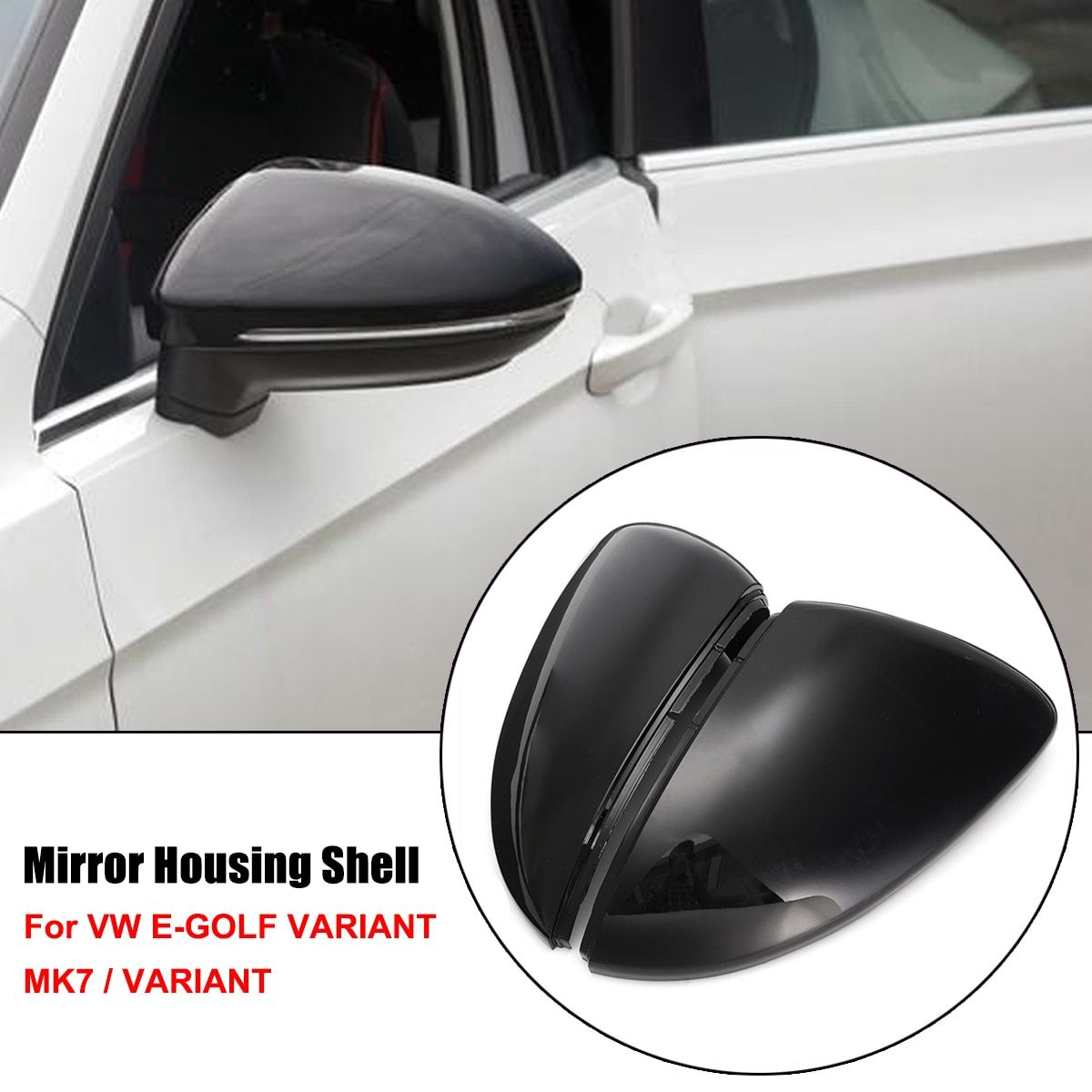 Pair Rearview Mirror Cover Side Wing Rear View Mirror Case Covers For VW Golf MK7 Golf Variant E-Golf L+R