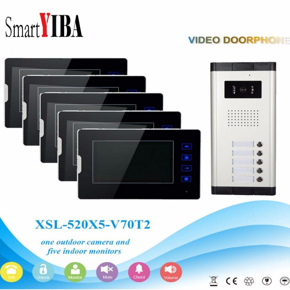 SmartYIBA 5 Units Apartment Intercom System Video Door Phone Door Intercom Aluminum Alloy Camera 7