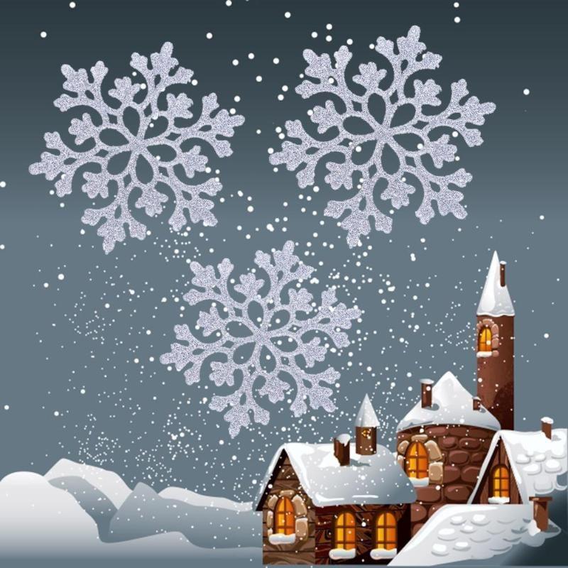 24 stücke Schneeflocken Weihnachten 10 cm Kunststoff Glitter Schnee Flocke Ornamente Weihnachten Baum Anhänger Weihnachten Dekorationen für Haus
