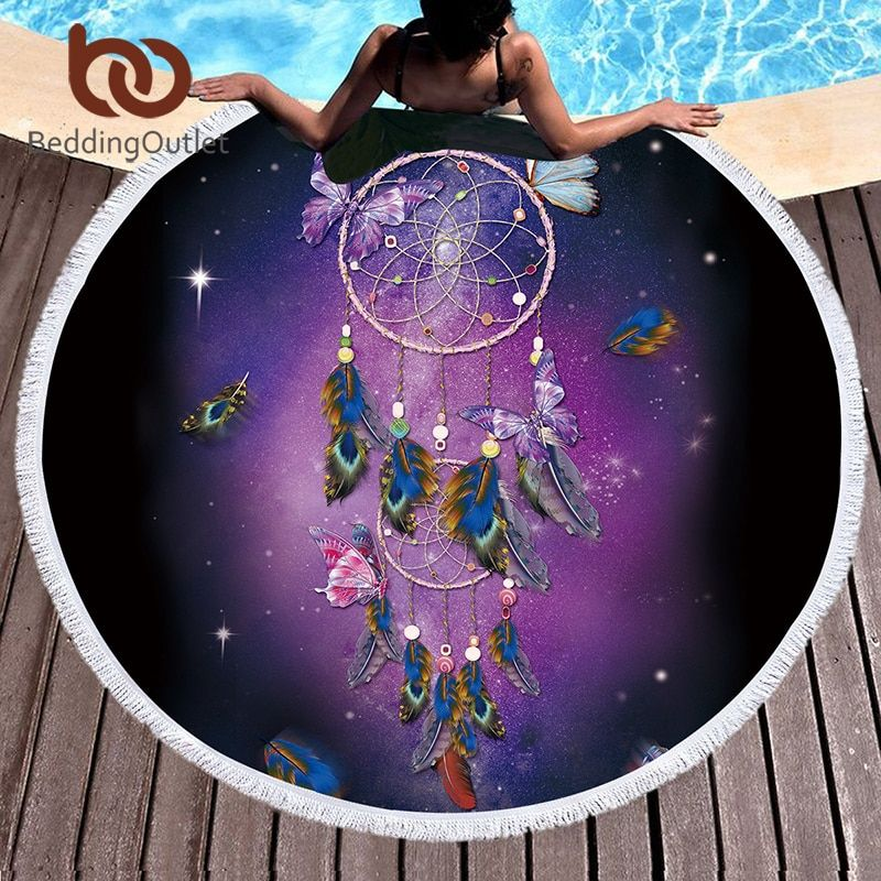 BeddingOutlet Dreamcatcher Tassel Tapestry Butterfly Bohemian Round Beach Towel Purple Toalla Sunblock Blanket 150cm Yoga Mat